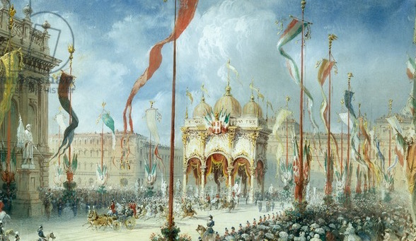 King Victor Emmanuel II attending opening of Italian parliament, by Carlo Bossoli (1815-1884), 19th century